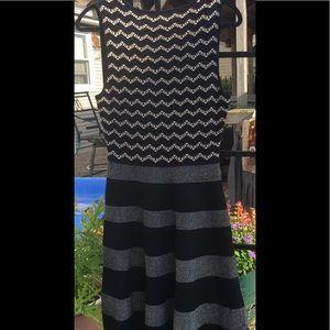 Cece Sz M Sleeveless flare black striped dress